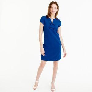 J Crew Petite Presentation Dress 00 Blue with Bows